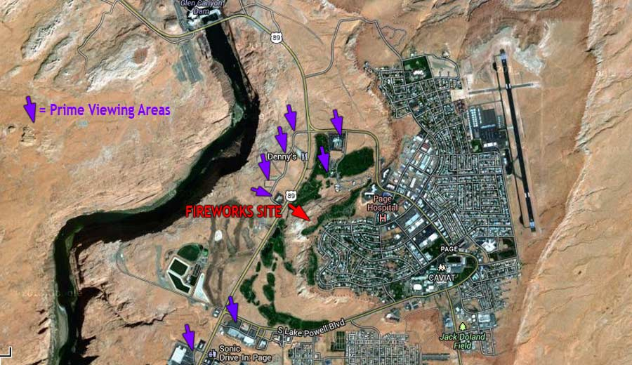 Page Arizona Fireworks Viewing Areas Map